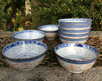 Chinese Rice Grain Bowls - Nine Rice Bowls - Blue, Red and White Bowls - Chinese Porcelain Bowls