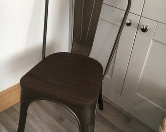 Tolix Metal Chair With Wooden Seat Xavier Pauchard Style
