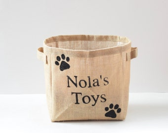 Personalized Storage- Storage Basket- Toy Storage- Nursery Storage- Burlap Bin- Storage Basket- Dog Toys- Home Decor- Kitchen Storage