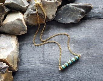 Turquoise bar necklace. Gold chain necklace. Boho necklace. Tribal necklace. Bohemian necklace. Beaded bar necklace. Turquoise jewelry. Boho