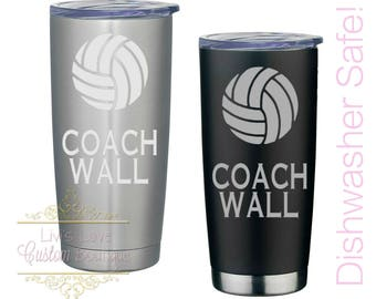 Gift for Volleyball Coach Engraved 20 oz Stainless Steel Coffee Tumbler Reusable Vacuum Insulated Travel To-Go Mug coffee, tea cup thermos