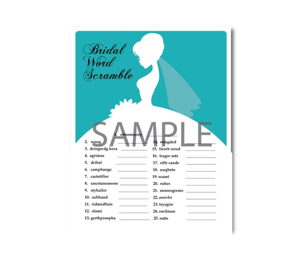 5 Turquoise Blue Orchid Bridal Shower Printable Games: Famous Couples,What's in your Purse Game, Word Scramble, Bridal Advice, ect