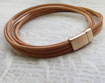 Rose Gold and Leather Cord Bracelet