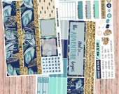 JANUARY monthly spread kit of planner stickers - 3 page blue floral kit for Erin Condren Life Planners. Teal Gold Glitter monthly spreads!