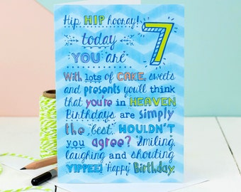 7th Birthday Card; Choice Of Pink Or Blue; Card For Seven-Year-Old; Children's Age Cards; Kids Age Cards;
