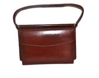 Vintage Tan Leather Handbag // Small Leather Bag // Casual Day Bag
