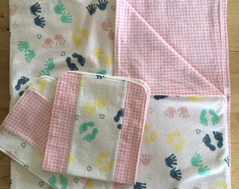 Flannel Baby Blanket, burp cloth, baby girl blanket, pink baby blanket, burp rag, gift set, girl bedding