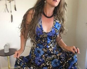 Sweet 70's Duo, High Waist Skirt, Tailored Vest, Cornflower Blue, Gold, Bronze, Sage Green, Black, Retro, Hippie, Gypsy, Size XS-S