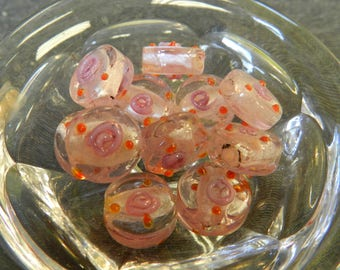 Set of 11 Pink Disk/ Coin Lampwork Glass Beads with Pink Roses and Orange Dots - 13mm - Handmade - Round, Breast Cancer Awareness