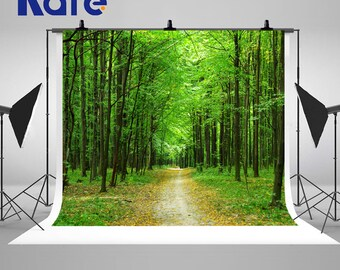 Green Forest Trees Photography Backdrops Newborn Baby Road Photo Backgrounds for Spring Nature Landscape Studio Props