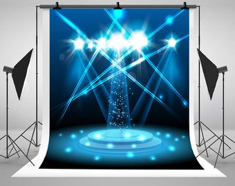 Blue Dazzle Light Stage Lighting Photography Backdrops No Wrinkles Photo Backgrounds for Wedding Studio Props