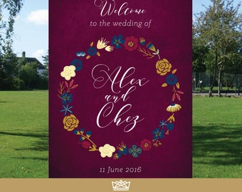 Wedding Welcome Sign // Gold & Maroon // Printable Wedding Sign // Welcome To Our Wedding // Wedding Ceremony Sign // DIGITAL FILE