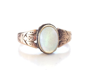 Antique Opal Ring | Rosy Gold | Victorian | Edwardian | 10k | Bezel Set | Size 5.5 | Item 80316