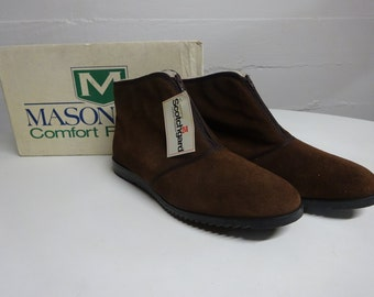 Vintage Mens Suede Leather Brown Ankle Boots, Outdorables Mason Shoe, New in Box, Made in USA, Size 11 - FREE SHIPPING
