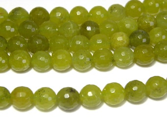 Round Natural Faceted Peridot Real Gemstone Beads - 8mm