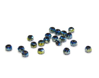 Faceted Mini Glass Briolette Beads, Glass Rondelle Beads 2mm - Blue Green Metallic