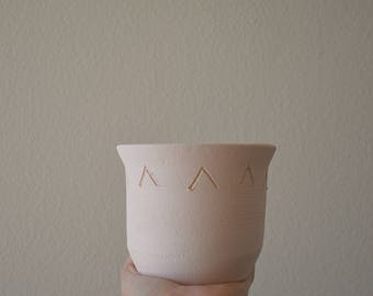 Handmade Small Etched White Pot Planter