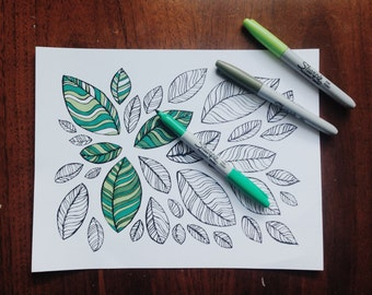 Leaves coloring page download, 5x7 abstract black & white leaves colouring page, 5x7 DIY art,kids fall colouring pages, seasonal coloring