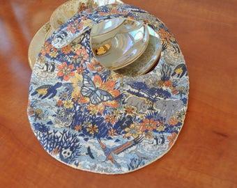Liberty Jungle bib from tana lawnand beige waffle cotton fabric (baby up to 6 months)