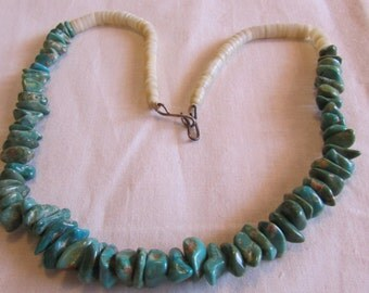Turquoise Nugget and Shell Heshi Necklace