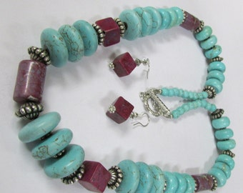 Bold Turquoise and Purple Bead Necklace and Earring Set