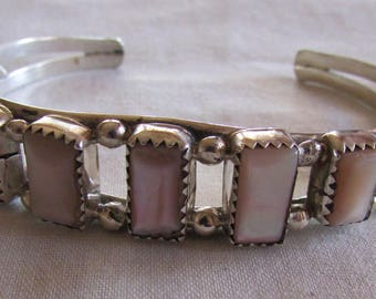 Sterling Silver and Pink Mussel Shell Cuff Bracelet