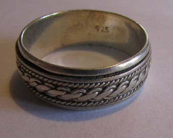 Sterling Silver Spinner Band Ring Size 13 1/4