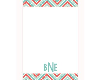 Chevron print personalized notepad, custom note pad, memo pad, personalized stationery notepad makes a great office gift or gift for her