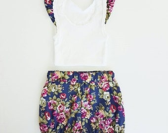 Nappy Cover Shorts & Singlet Set - Navy Floral Bloomers