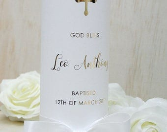 Personalised Foiled Christening / Baptism Candle