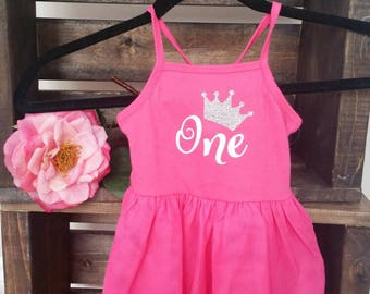 First birthday pink tutu dress. One. Silver sparkle crown. Ready to ship.