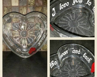 Glass Heart Shaped Dish-I love you to the moon- Personalized