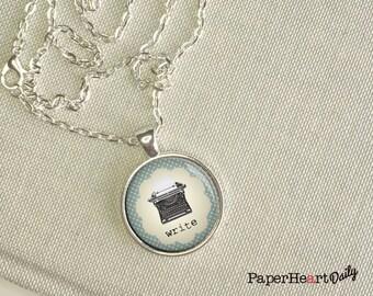 Typewriter Art Necklace - Write Necklace - Writer Jewelry - (B7324)