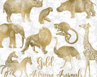 Vintage Gold African Animals Clipart, antique safari illustrations, png clip art, elephant, lion, giraffe digital download, commercial use