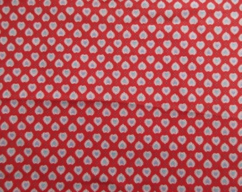 "Lacy Heart Fabric - Red White Lace Hearts  - Quality Cotton  - 21"" x 44"" only"