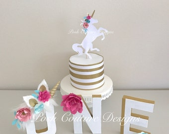 Unicorn First Birthday©/ Unicorn Floral Letters/ Unicorn Party/ Unicorn Photo Prop/ Unicorn Decorations/ Unicorn Cake Smash