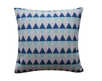 """Geometric Triangles Pillow Cover, Blue Aqua Cushion, 20"""" x 20"""" Decorative Pillow Cover Cushion Cover Kids Room Throw Pillow 106"""