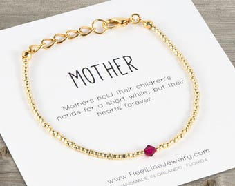 Mother's Crystal Gold Adjustable Bracelet, mothers day gift, mother birthday, mother daughter gifts, mom jewelry, mom gift