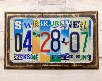 10 Year Anniversary Gift - License Plate Art - Gift of Tin - Upcycled Home Decor - Wedding Gift - Gift for Husband - Gift for Wife