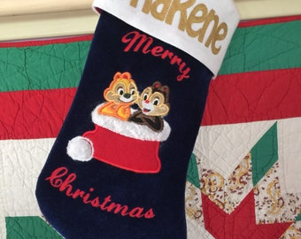Chip & Dale Custom Made Christmas Stocking - Personalized