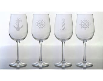 Nautical Wine Glasses / Set of 4 / Free Personalization / Lighthouse, Ships Wheel, Compass Rose, Anchor / Personalized Gift /