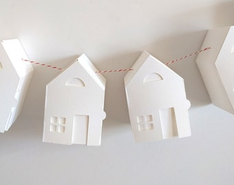 Little Paper House Garland: Fold your own paper houses craft kit, DIY tiny house papercraft kit