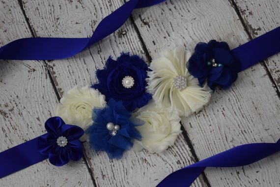 Sash, royal navy and ivory Sash,#2 , flower Belt, maternity sash, flower girl sash, bridal sash