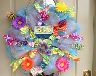 Spring deco mesh wreath, summer deco mesh wreath, spring wreath, summer wreath, bright deco mesh wreath, flower wreath, mesh spring wreath