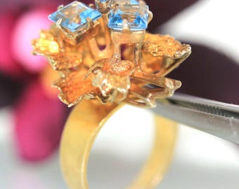 Vintage 6k Yellow Gold Natural Princess cut Blue Topaz Cluster ring band 6.4grm