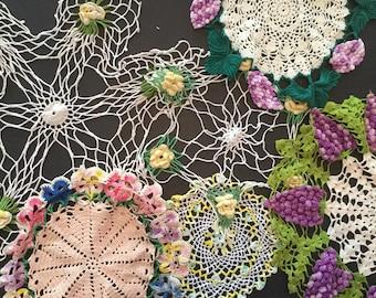 Lot of 6 Vintage Colored Crochet Doilies - Flowers A5