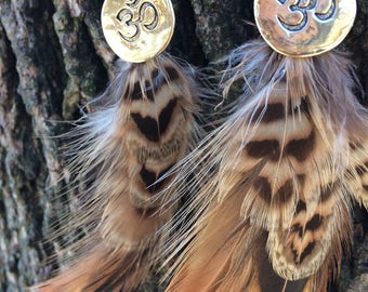 hand crafted assorted feather earrings with gold Om charm