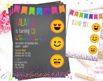 Emoji Birthday Invitation - Digital Emoji Invitation - You Print - Emoji Theme Party - Emoticon Printable Invitation - Teen Birthday Tween
