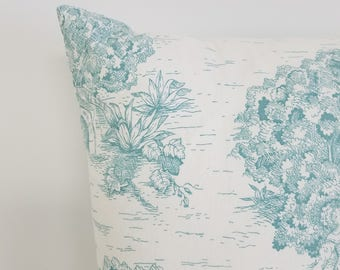 Aqua toile pillow cover, pillow cover, french toile pillow, shower gift, country pillow, teal pillow, aqua pillow cover, teal pillow cover