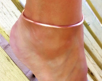 Ankle bracelet, copper anklet, boho anklet, simple anklet,rose gold color anklet, copper jewelry, beach anklet